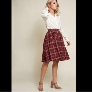 ModCloth Encouraging Outlook Plaid Flannel Skirt